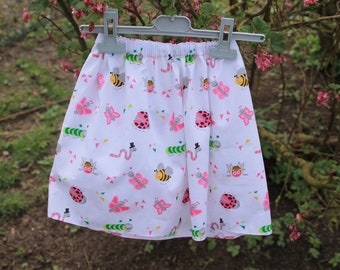 Skirt made of GOTS certified organic cotton patterned fun insects for girl 3 to 4 years old girl