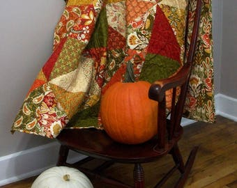 Spice Colored Quilt Allure Throw Handmade Quilted Blanket Quiltsy Handmade FREE U.S. Shipping Fall Autumn