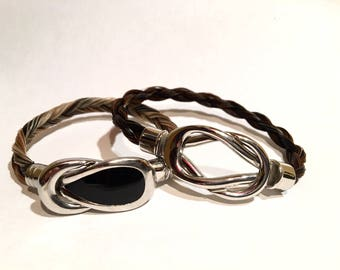 Genuine horsehair bracelet with (your) horse inside black steel clasp