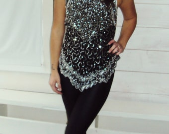 80s Sequin Top Sleeveless PARTY top, Silver Sequins Sparkley HIGH NECK beaded fitted silver + white s, m crystals and beads