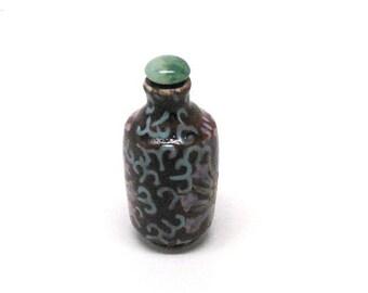 Vintage Asian Snuff Bottle, Scent Jar, Perfume, Dauber, Ceramic, Hand Painted Floral, Mid Century, Souvenir, c1960's