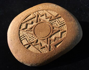 ANASAZI style engraved ROCK - southwest, pottery pattern, pueblo style, Santa Fe style