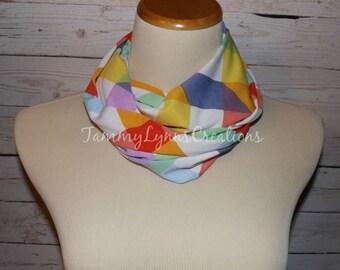 GIRLS Rainbow Quilt Blocks Colors Infinity Scarf  Spring Multicolor Orange, Purple, Mustard, Blue Knit Fabric Girls Accessories