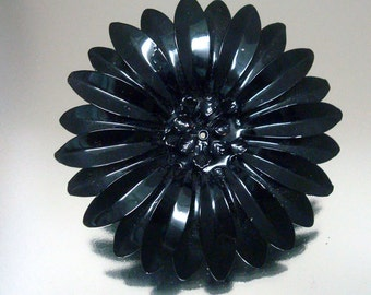 Huge Black Baked Enamel Metal Flower Pin Vintage Jewelry