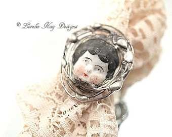 Doll Face Ring Doll Head Ring Fine Silver Plated Organic Free Form Design Lorelie Kay Designs Doll Jewelry