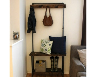 Industrial Hall Tree - Rustic Entry Way Storage - Living Room Furniture - Coat Rack - Entry Way Bench