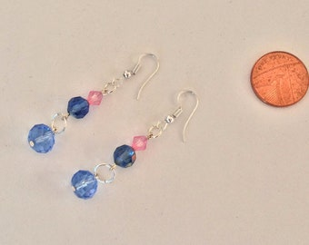 Pink and Blue Glass Bead Drop Earrings