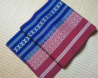 Reversible obi belt red blue, Japanese two coloured hakata obi, Kimono hakata obi, vintage casual maru obi, fukuro obi, modern wafuku obi