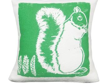 Decorative Pillow, Cushion, Teal, Squirrel, Cotton Bark Cloth, 20x20, Silk Screened