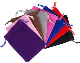Pack of 8 Mix Color Soft Velvet Pouches w Drawstrings for Jewelry Gift Packaging, 5x7cm, 7x9cm or 9x12cm