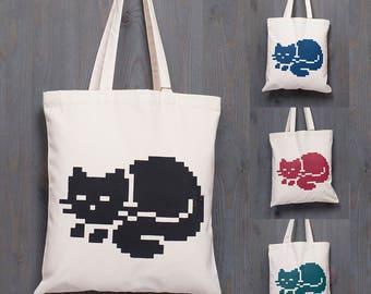 PIXECAT tote bag, COLORS, pixel, minimal, cool, purr, cat, kitten, red, blue, petrol, cotton, silksreen, print