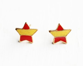 Yellow Stripe Star Studs