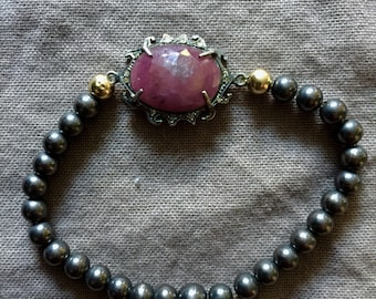 Oxidized Silver Bead Stretch Bracelet with Ruby and Diamond Pave Center