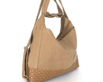 Convertible hobo purse,convertible backpack with outside pockets, Khaki backpack, office purse, backpack purse, convertible shoulder bag