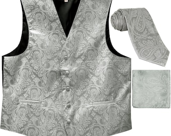 Men's Paisley Gold Polyester Tuxedo Vest with Ascot Cravat Necktie and Handkerchief, for Formal Occasions