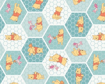 Camelot Winnie the Pooh and the honeycombs, nursery theme, Cotton 1 yard