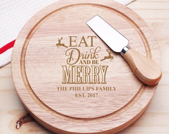 Eat Drink and be Merry Personalized 5pc. Cheese Board Gourmet Set  (JM954605-18-CS913)