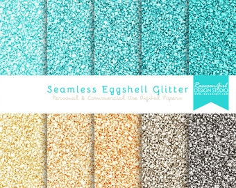 Seamless Eggshell Blue Glitter Digital Paper Set - Personal & Commercial Use