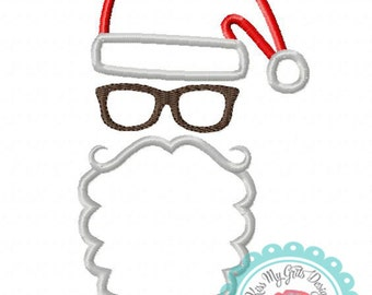 Santa with Long Beard and Glasses Machine Embroidery Applique Design