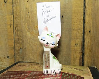 Enesco Cat Thermometer & Note/Recipe Holder- Kitschy Cat