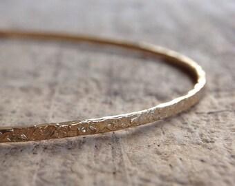 Thin Gold Bangle, Skinny Stacking Bangle, Gold Pattern Bangle, Textured Bangle Bracelet, 14K Gold Fill Bangle, Boho Luxe Jewelry