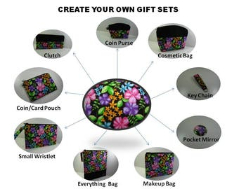 Gift Sets, Create Your Own, Personalized Clutch, Wristlet, Makeup Bag, Cosmetic Bag Coin Pouch, Your Choice