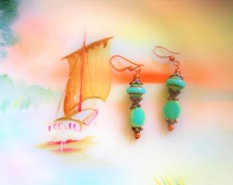 Chrysoprase earrings, Turquoise earrings, gift for her, anniversary gift, gift ideas for women, copper earrings, summer Turquoise  earrings