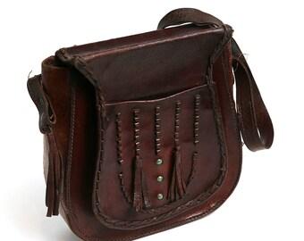 Old Leather Purse Handbag, Dark Brown Vintage Bag, Leather Vintage Shoulder Bag, 70s Brown Tooled Leather Handbag, Antique Woman Purse