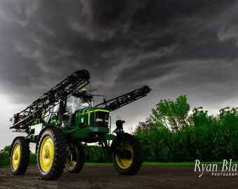 Landscape Photography, Farm Print, John Deere Art, Storms, Combine, Tractor Photography, Alberta Farm photos