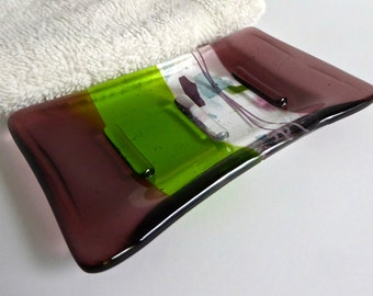 Fused Glass Soap Dish in Light Plum and Green by BPRDesigns