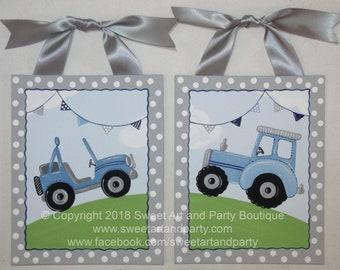 Art for Boys Room, Tractor, Jeep, Nursery wall art, Boys Nursery decor, Hand Painted, Baby Gift, Blue Gray, Boy wall Art, Transportation art