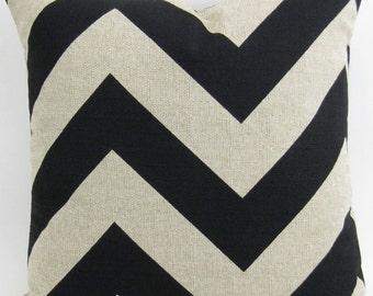 Denton black chevron pillow cover up to 28x28 inch zippy zigzag throw cushion Euro sham barkcloth linen burlap shabby chic FREE SHIP