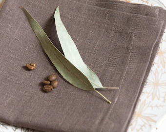 FREE SHIPPING Brown kitchen napkins - Softened linen napkins - Linen napkin cloths - Rustic wedding napkins - Party napkins