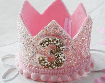 Shimmer Pink Birthday Crown, 1st Birthday Crown, Pink Birthday Crown, 2nd Birthday Crown, Birthday Princess Crown, Pink glitter Crown