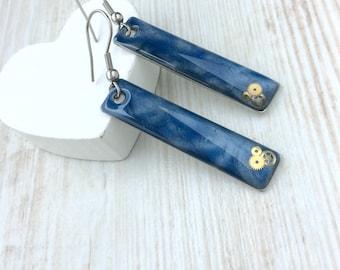 Blue Steampunk Earrings. Blue Earrings. Bar Earrings. Long Earrings. Resin Earrings. Sterling Silver Earrings. Simple Drop Earrings. Unusual