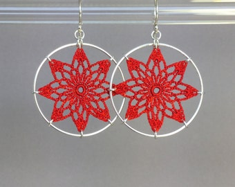 Tavita doily earrings, red hand-dyed silk thread, sterling silver