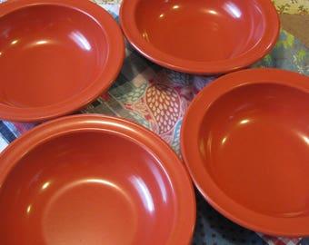Four Lovely Vintage Red Prolon Melamine Melmac Soup or Cereal Bowls