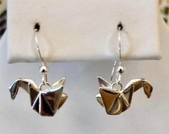 Sterling Silver Origami Swan Earrings