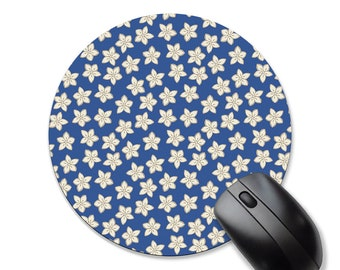 Floral mouse pad, cream and blue, rectangle or circle mouse pads