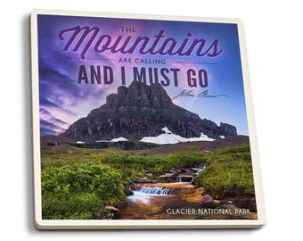 Glacier MT - The Mountains are Calling - LP Photo (Set of 4 Ceramic Coasters)