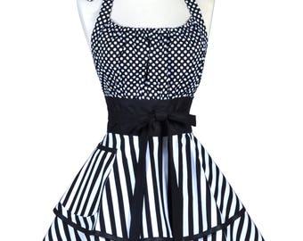 Womens Flirty Chic Retro Apron - Black Stripes and Polka Dot Cute Pinup Kitchen Apron - Black hostess Apron with Pocket - Monogram Option