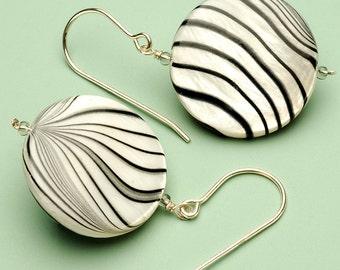 Animal Print Zebra Shell Pearl Earrings on Sterling Silver Earwire