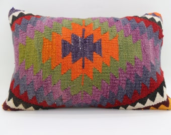 16x24 Pillows Multicolor Pillow Geomnetric Pillow 16x24 Lumbar Kilim Pillow Embroidered Kilim Pillow Throw Pillow Cushion Cover SP4060-1277