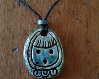 Mayan I'X Jaguar Necklace Turquoise Green Mesoamerican Tzolk'in Day Sign Ceramic Amulet Clay Pendant Aztec Calender Olmec Symbol