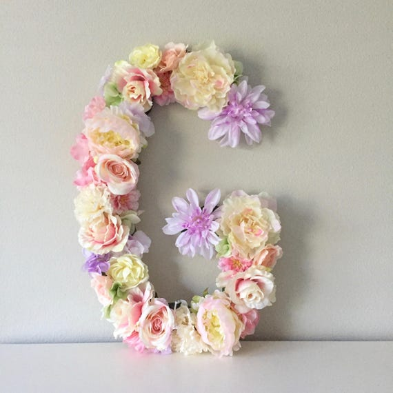 Nursery letter floral letter flower letter baby initial like this item negle Images
