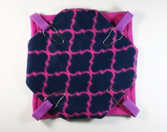 Small fleece double hammock | ferret | rat | sugar glider | guinea pig |  navy blue |  hot pink | quatrefoil | bunked hammock  READY TO SHIP