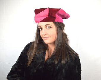 Vintage 60s Mod Pink Velvet Hat - By Abbye