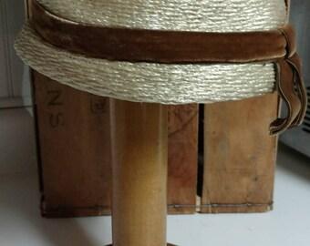 Vintage Pill Box Hat w/ Velvet Ribbon & Hat Pin