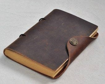 Handmade Unique Leather Journal Diary notebook Blank kraft Paper  (Free stamp)