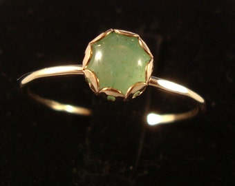 Green Aventurine Ring -  14k gold filled and sterling from recycled eco friendly sources - custom made in your size